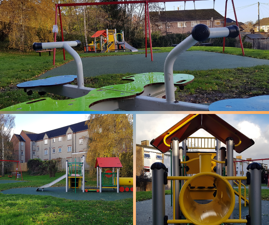 Montage of images from new play area in Farm Close Road Rec